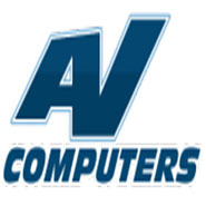 av computers printing buy local logo