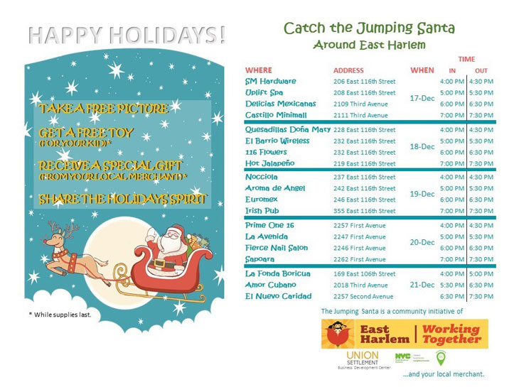 catch the jumping santa schedule east harlem 2018
