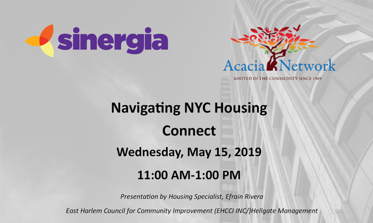 sinergia navigating nyc housing connect event flyer