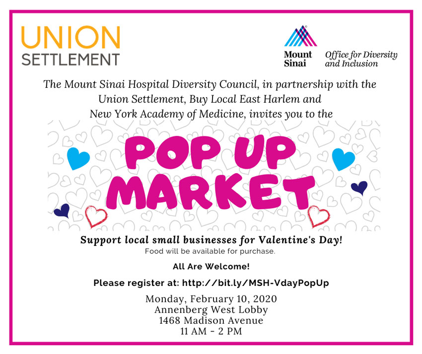 Mt sinai hospital Valentine day Pop Up Market February 10 2020